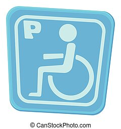 Invalid parking icon, cartoon style - Invalid parking icon....