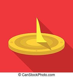 Sundial icon, flat style - Sundial icon. Flat illustration...