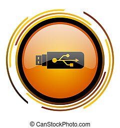 usb round design orange glossy web icon