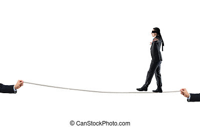 Young businessman in blindfold against white background...