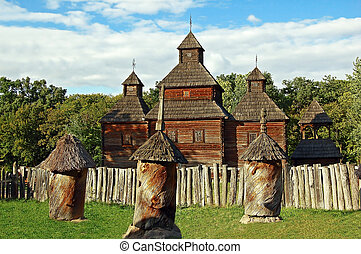 Antique wooden chapel and beehive, Pirogovo, Kyiv, Ukraine