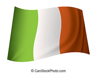 ireland flag - irish flag concept with ireland icon flapping...