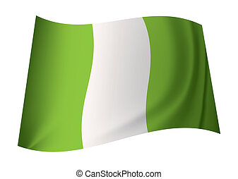 Nigerian flag - green and white nigeria flag with creases in...