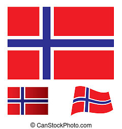 Norway flag set - flag; icon; banner; nation; bars;...