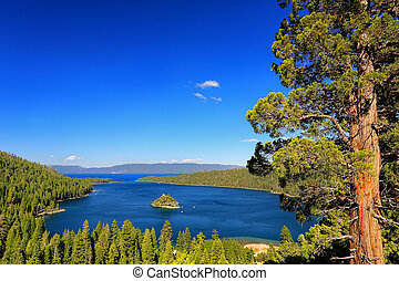 Emerald Bay at Lake Tahoe with Fannette Island, California,...