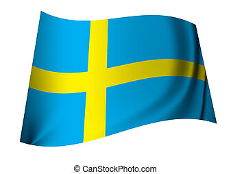 Sweden flag - single swedish flag icon in blue and yellow...