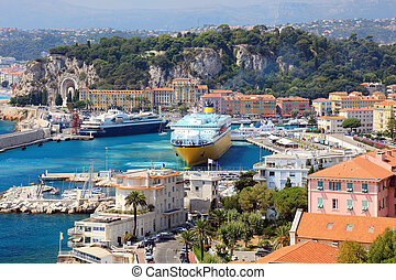 Beautiful harbor od Nice with big cruise ships, France,...