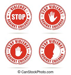 grunge rubber stop violence against children sign in red on...