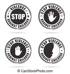 grunge rubber stop violence against children sign on hand...