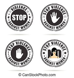 grunge rubber stop violence against woman sign on hand...