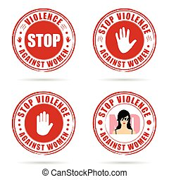grunge rubber stop violence against woman sign in red on...