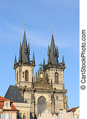 Tyn Cathedral in Prague, Czech Republic.