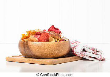 Exotic Root Vegetables Chips - Bowl of exotic root vegetable...
