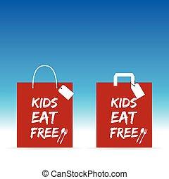 kids eat free red paper bag design illustration