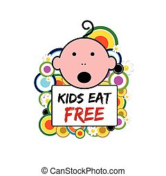 banner with baby and kids eat free on it illustration
