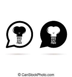 kids eat free on hat in speech bubble illustration