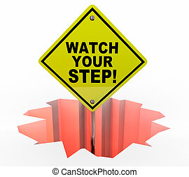 Watch Your Step Be Careful Hole Sign Danger 3d Illustration
