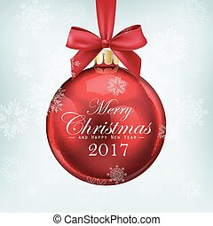Red christmas ball with ribbon and a bow on blue background. Merry Christmas and Happy New Year 2017