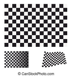 checkered flag set - Black and white checkered flag concept...