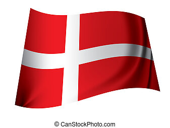 Danish flag - red and white danish flag floating in the wind...