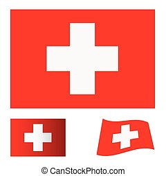 switzerland flag set - red flag background with white cross...
