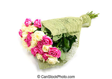Bouquet of pink and creme roses isolated on white background.