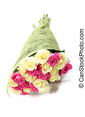 Bouquet of pink and white roses isolated on white background.