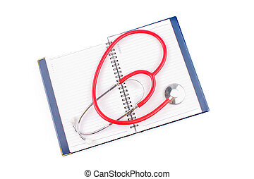 Medical concept Stethoscope and open notebook on white background
