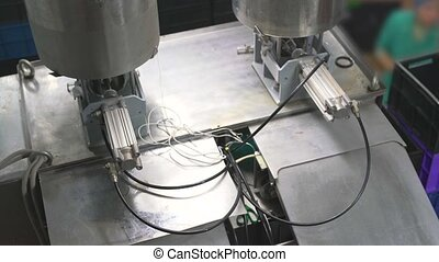 Working machinery at dairy plant - Milk processing equipment...