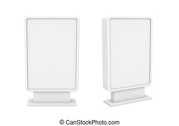 Rendering of two small white blank street billboards without...