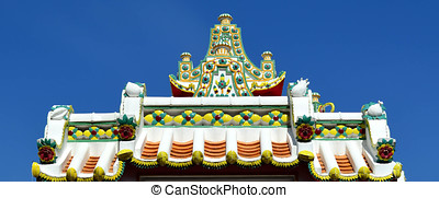 Arch gable of Thai church temple decorate with colorful ceramic tiles, Wat Pho, Thailand