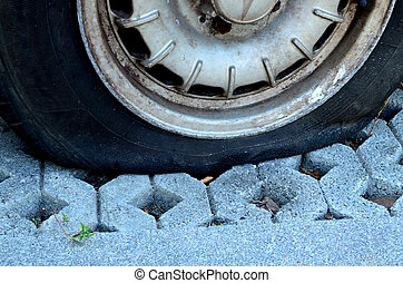 Close up flat tire