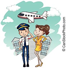 Cabin crew working in airline illustration