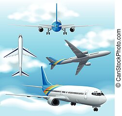 Many airplanes flying in the sky