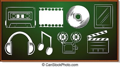 Icon design with entertainment objects illustration