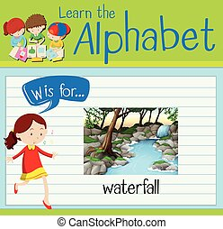 Flashcard letter W is for waterfall illustration