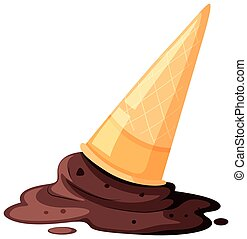 Melted ice cream with cone on the floor illustration