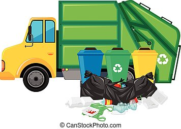 Garbage truck and three trashcans illustration