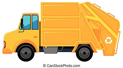 Rubbish truck in yellow color illustration