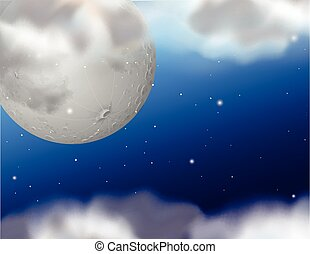 Background template with fullmoon at night