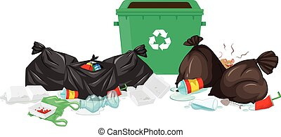 Trashcan and bags full of waste illustration
