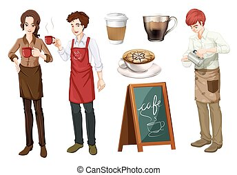 Set of people working in cafe