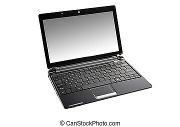 Small modern netbook isolated on white background