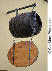 Medieval Keg - Sign above a medieval pub.
