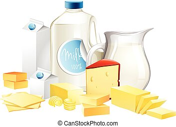 Different types of dairy products illustration