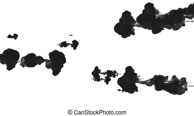 black ink drop in water on a white background for effects. 3d render. voxel graphics. computer simulation 14