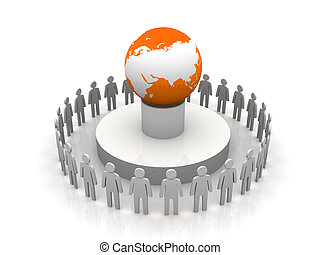 Group of business people forming circle around earth globe