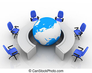 Conference table with world