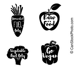 Vegan Labels set. - Cocept. doodle - Sweet Pepper. Red...