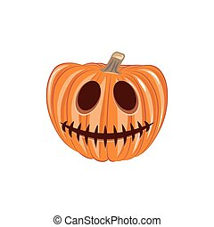 Smile Pumpkin Single. Halloween Design Element. Isolated On White Background